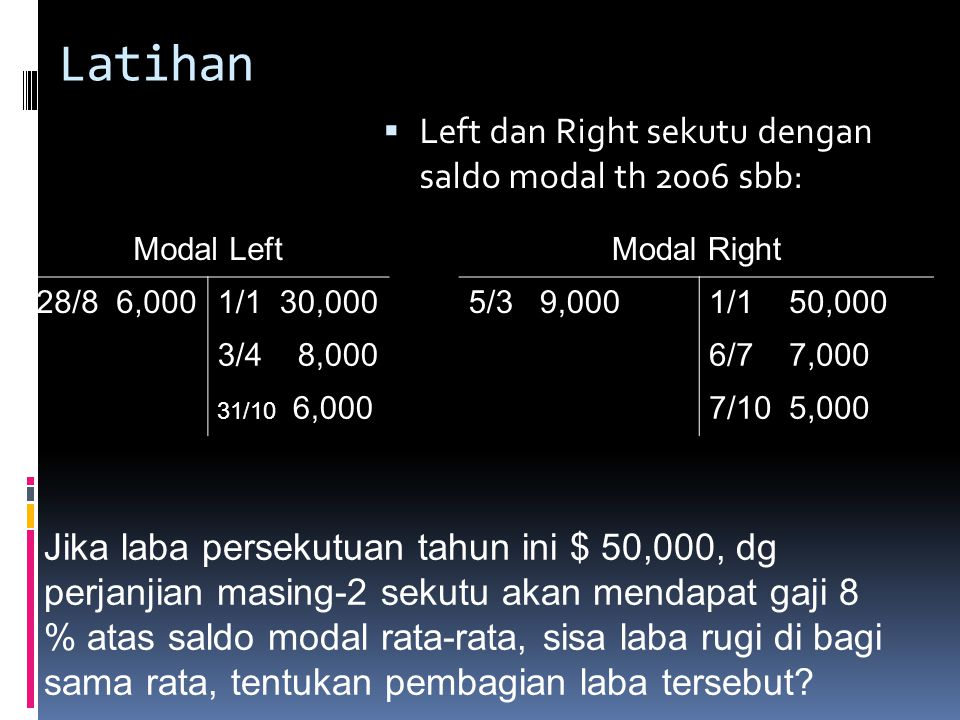 Latihan Left dan Right sekutu dengan saldo modal th 2006 sbb: