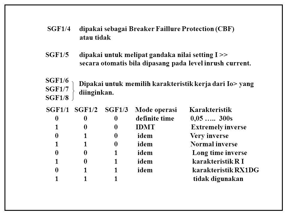 SGF1/4 dipakai sebagai Breaker Faillure Protection (CBF)
