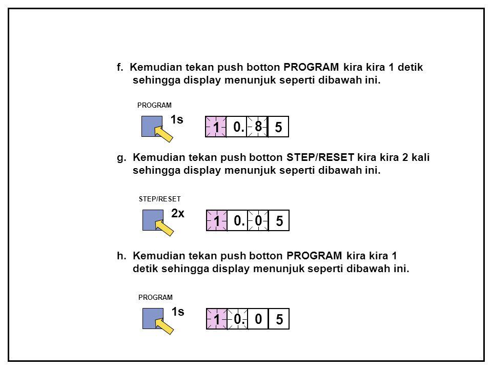 f. Kemudian tekan push botton PROGRAM kira kira 1 detik sehingga display menunjuk seperti dibawah ini.