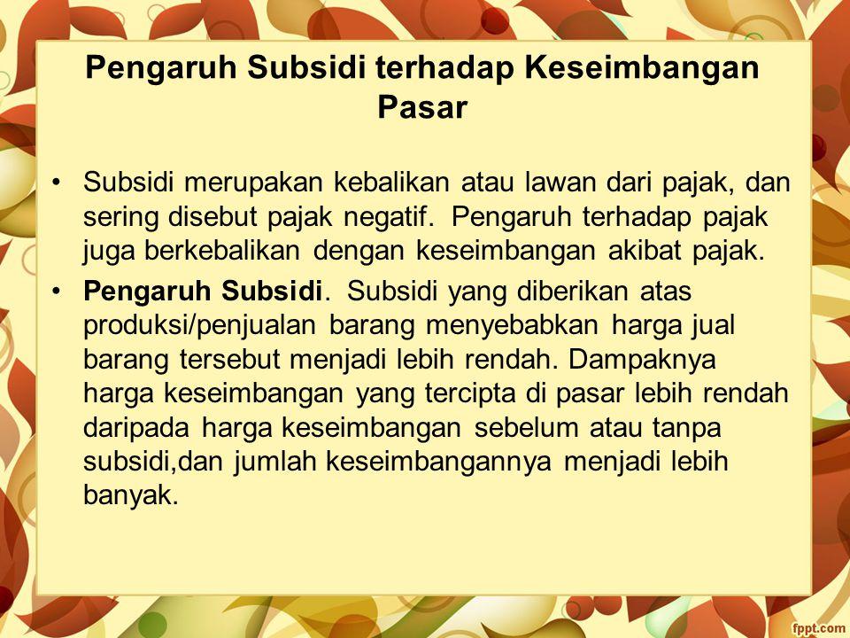 Pengaruh Subsidi terhadap Keseimbangan Pasar