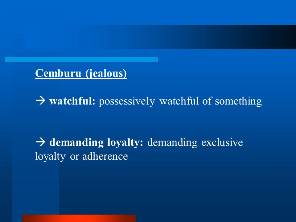 Cemburu (jealous)  watchful: possessively watchful of something.