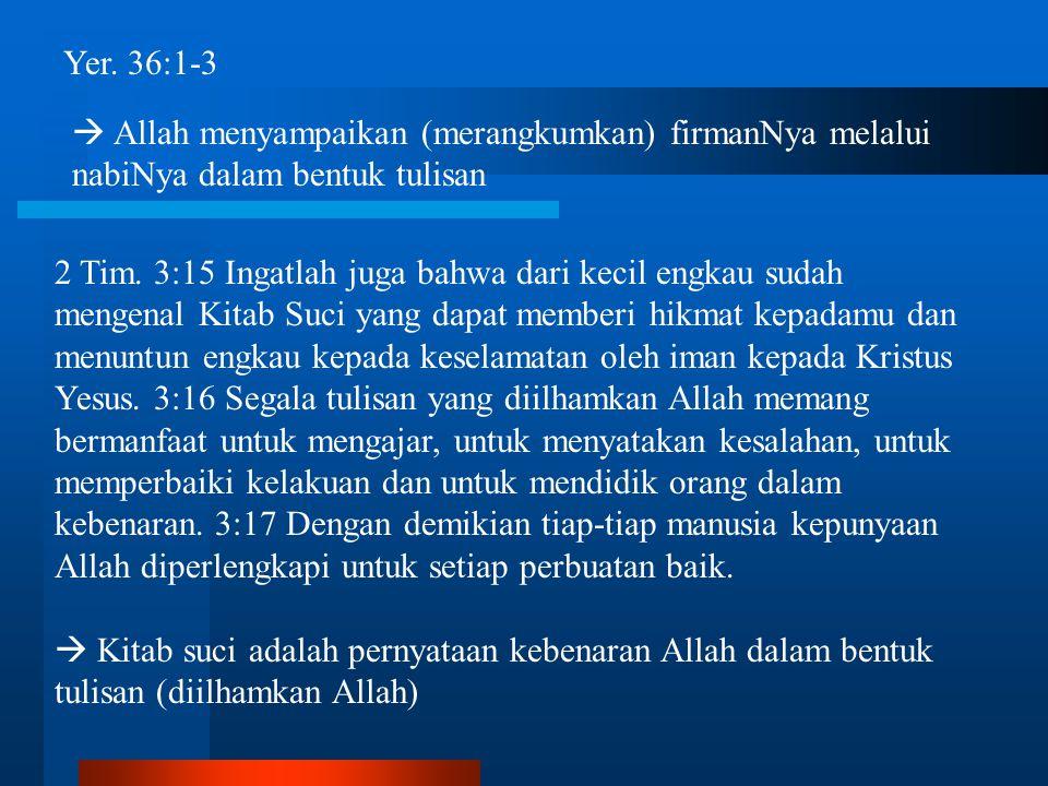 Yer. 36:1-3  Allah menyampaikan (merangkumkan) firmanNya melalui nabiNya dalam bentuk tulisan.
