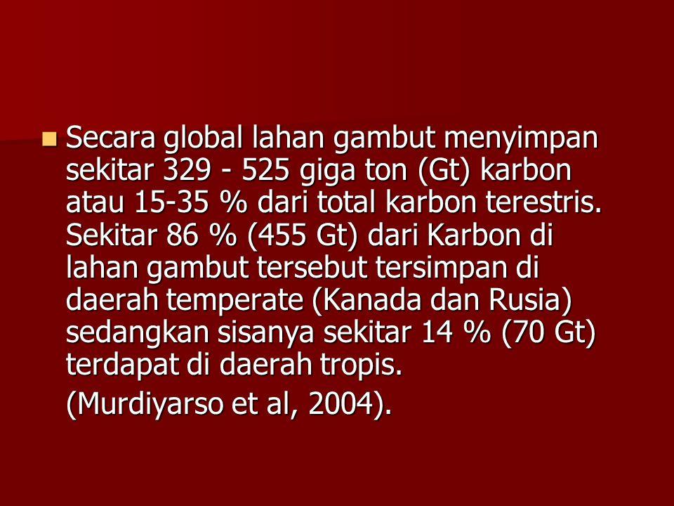 Secara global lahan gambut menyimpan sekitar 329 - 525 giga ton (Gt) karbon atau 15-35 % dari total karbon terestris. Sekitar 86 % (455 Gt) dari Karbon di lahan gambut tersebut tersimpan di daerah temperate (Kanada dan Rusia) sedangkan sisanya sekitar 14 % (70 Gt) terdapat di daerah tropis.