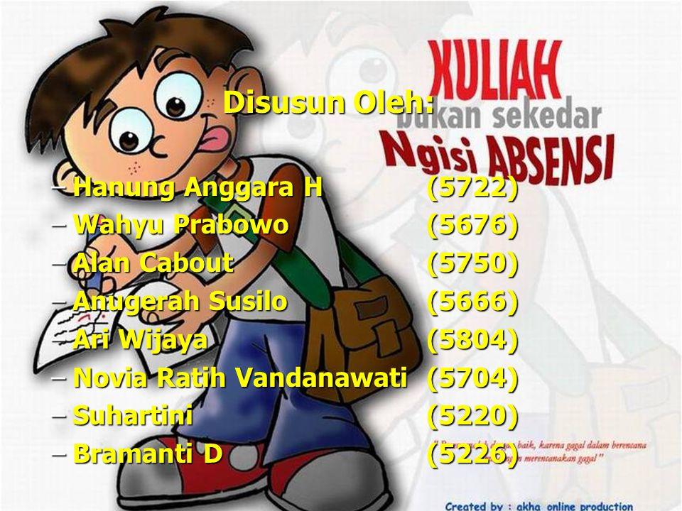 Disusun Oleh: Hanung Anggara H (5722) Wahyu Prabowo (5676)