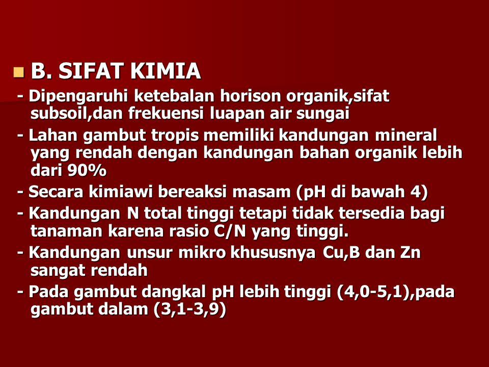 B. SIFAT KIMIA - Dipengaruhi ketebalan horison organik,sifat subsoil,dan frekuensi luapan air sungai.