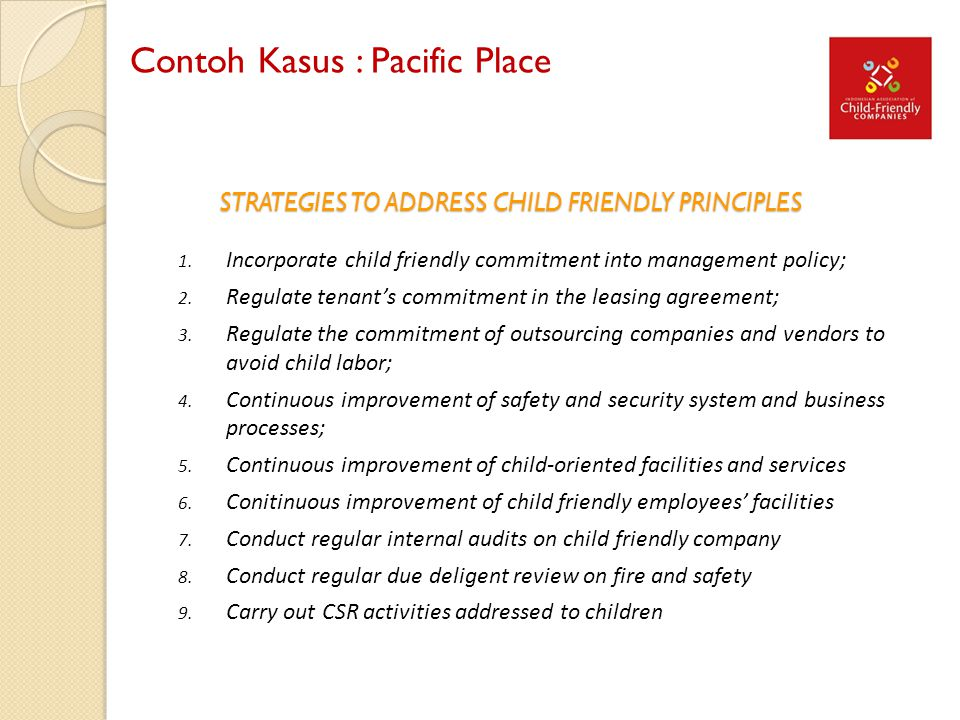 STRATEGIES TO ADDRESS CHILD FRIENDLY PRINCIPLES