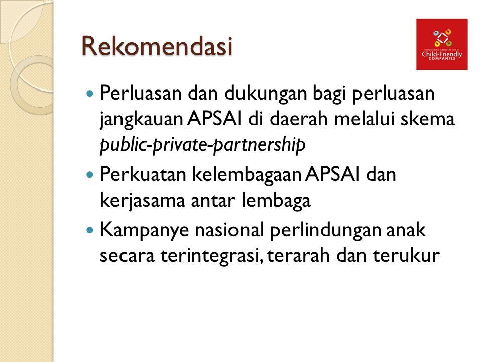 Rekomendasi Perluasan dan dukungan bagi perluasan jangkauan APSAI di daerah melalui skema public-private-partnership.