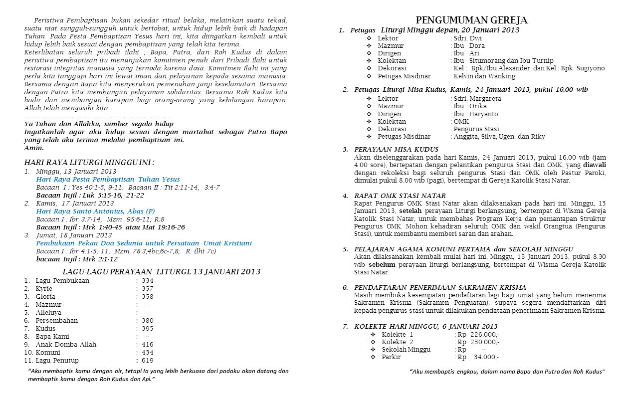 LAGU-LAGU PERAYAAN LITURGI. 13 JANUARI 2013