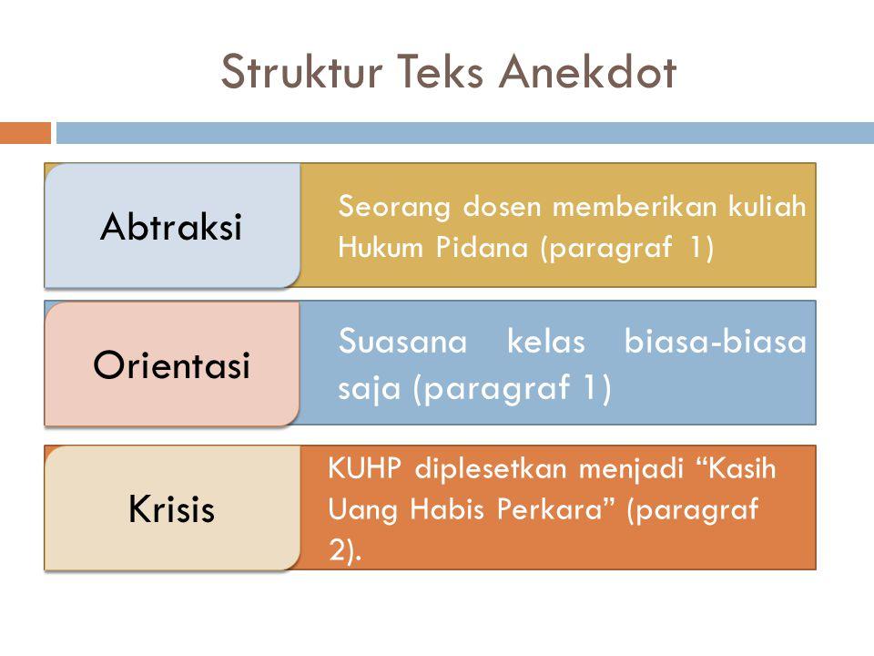 Struktur Teks Anekdot Abtraksi Orientasi Krisis