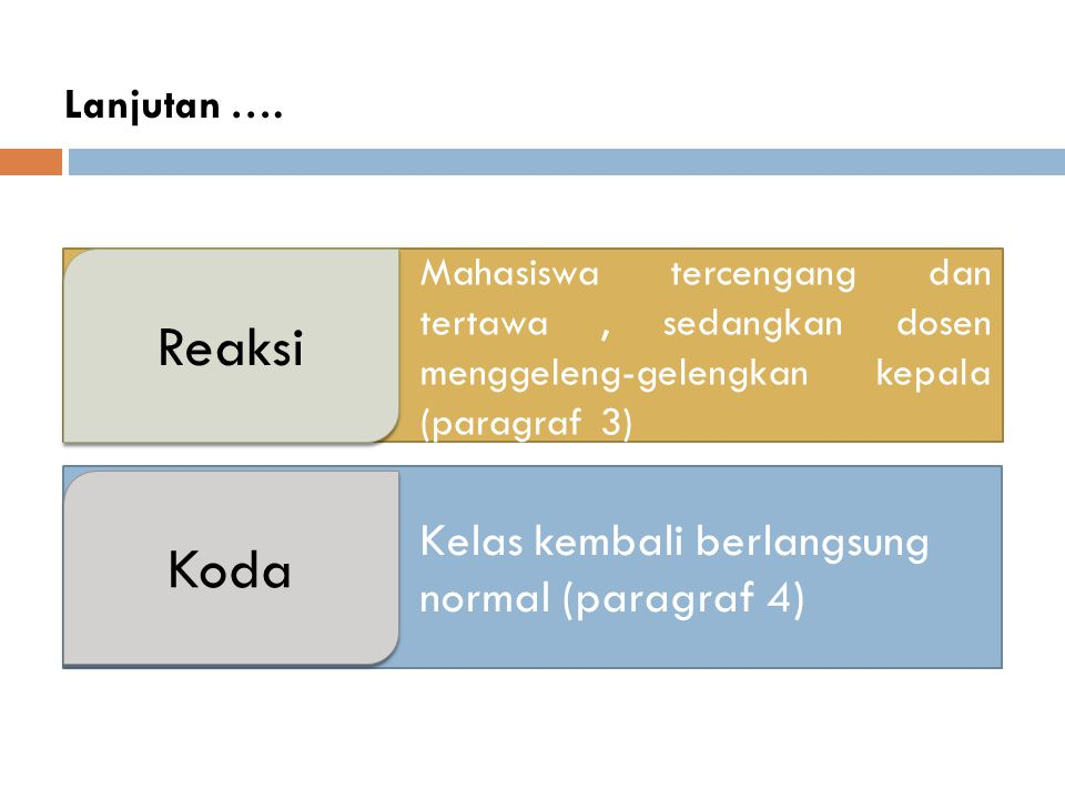 Reaksi Koda Kelas kembali berlangsung normal (paragraf 4) Lanjutan ….