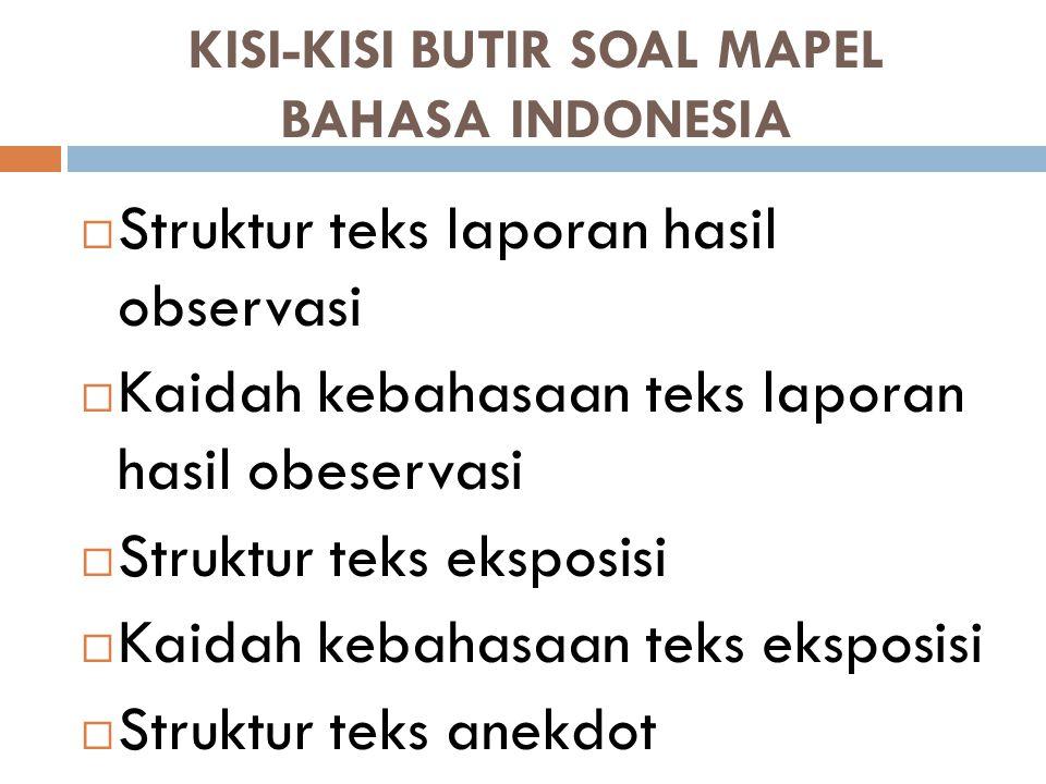 KISI-KISI BUTIR SOAL MAPEL BAHASA INDONESIA