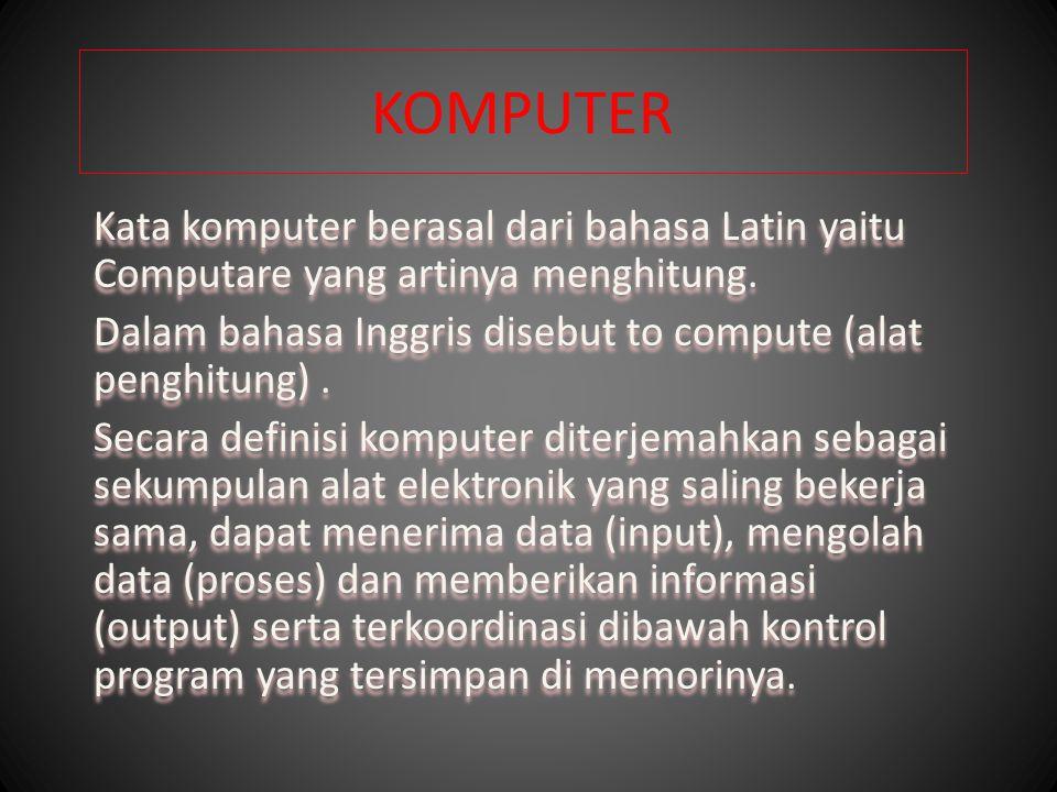 KOMPUTER Kata komputer berasal dari bahasa Latin yaitu Computare yang artinya menghitung.