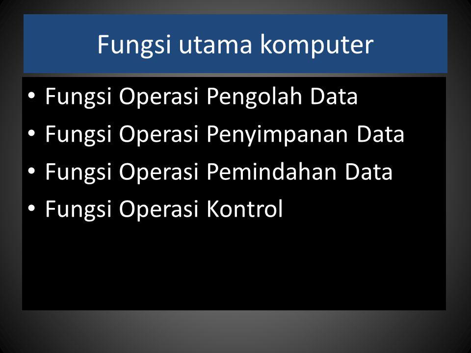 Fungsi utama komputer Fungsi Operasi Pengolah Data