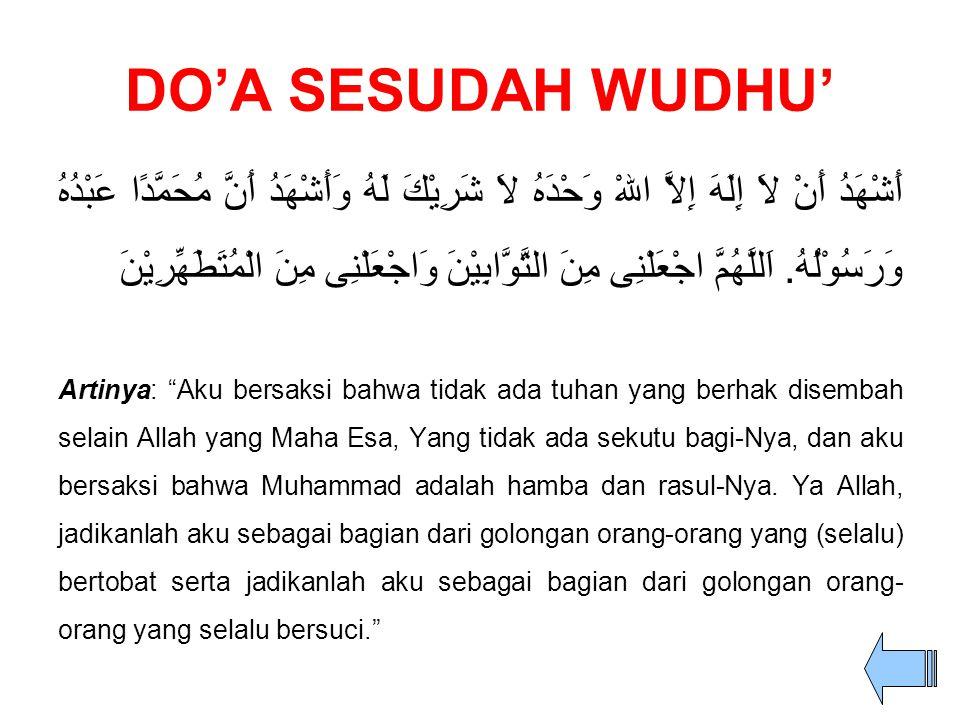 DO'A SESUDAH WUDHU'