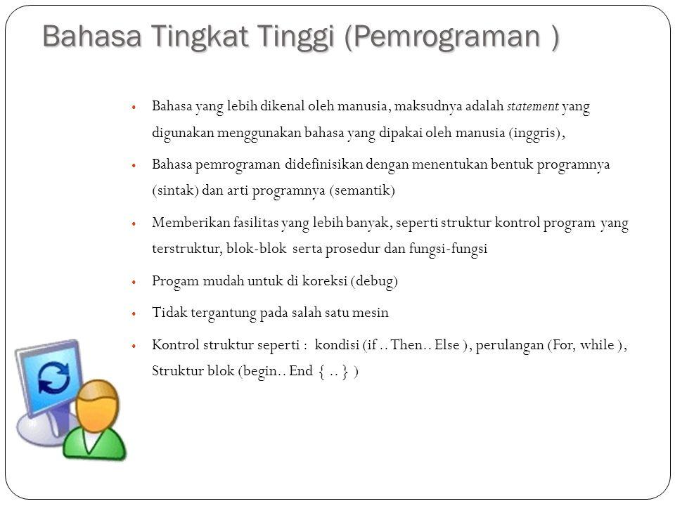 Bahasa Tingkat Tinggi (Pemrograman )