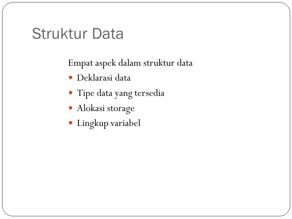 Struktur Data Empat aspek dalam struktur data Deklarasi data