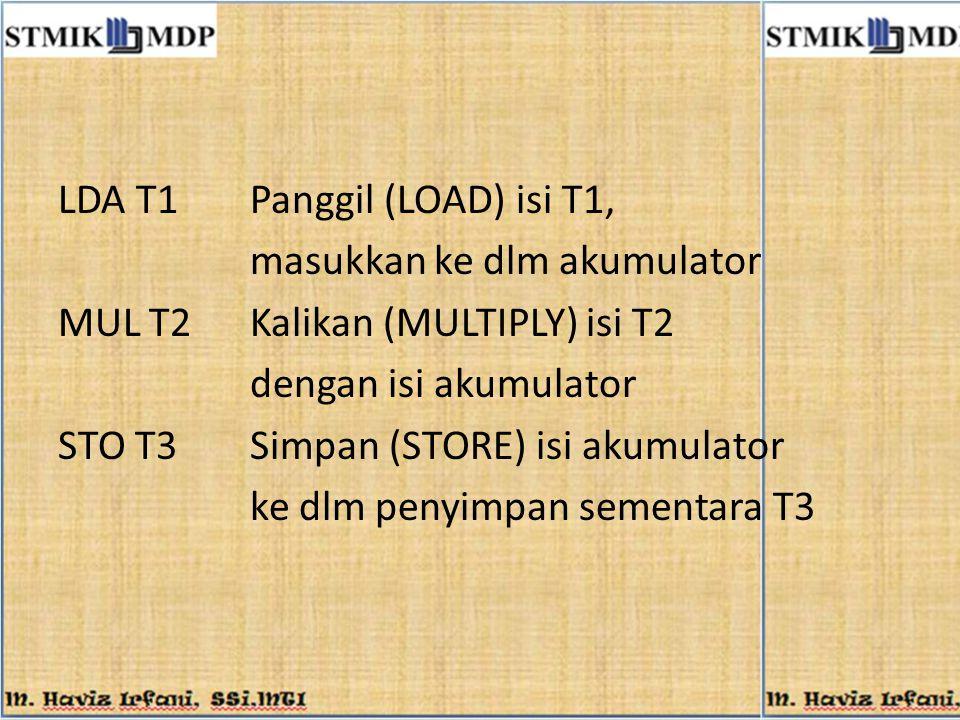 LDA T1 Panggil (LOAD) isi T1,