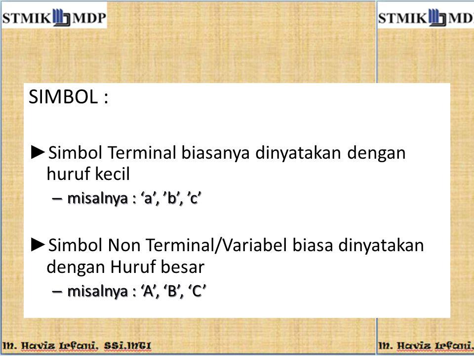 SIMBOL : Simbol Terminal biasanya dinyatakan dengan huruf kecil