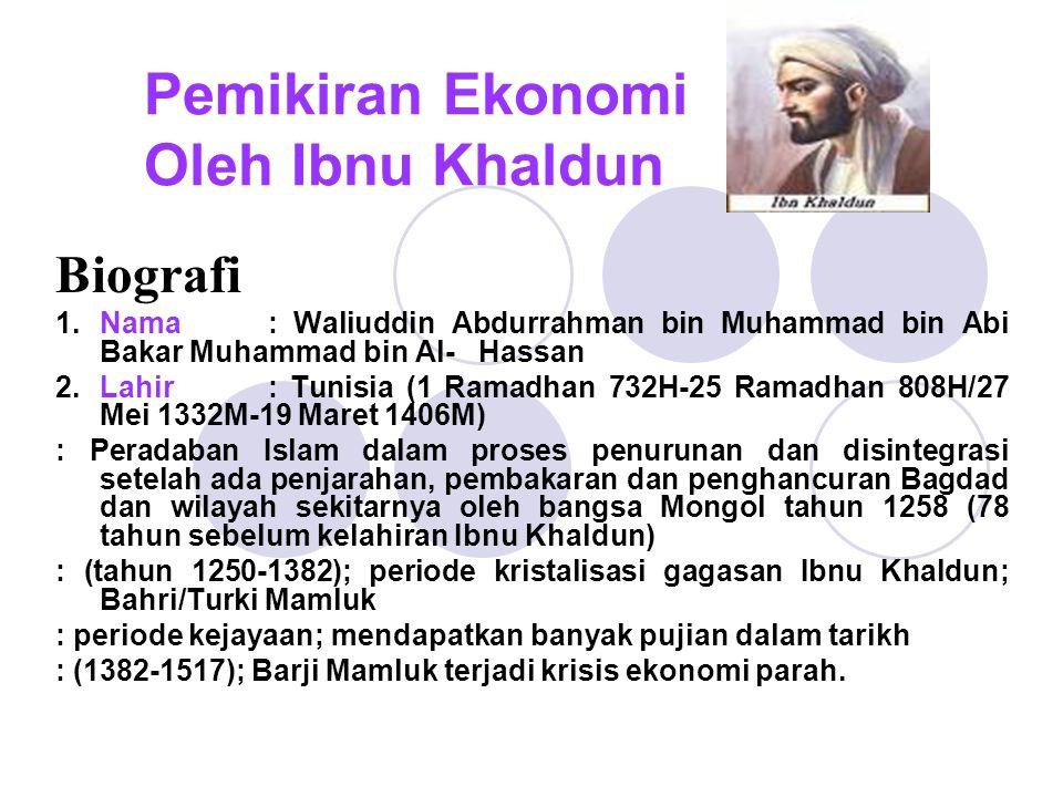 Pemikiran Ekonomi Oleh Ibnu Khaldun