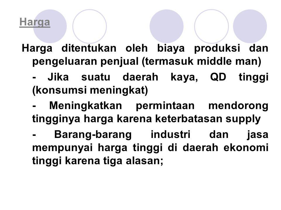 Harga Harga ditentukan oleh biaya produksi dan pengeluaran penjual (termasuk middle man) - Jika suatu daerah kaya, QD tinggi (konsumsi meningkat)