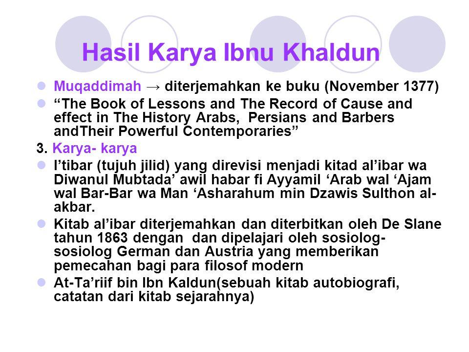 Hasil Karya Ibnu Khaldun