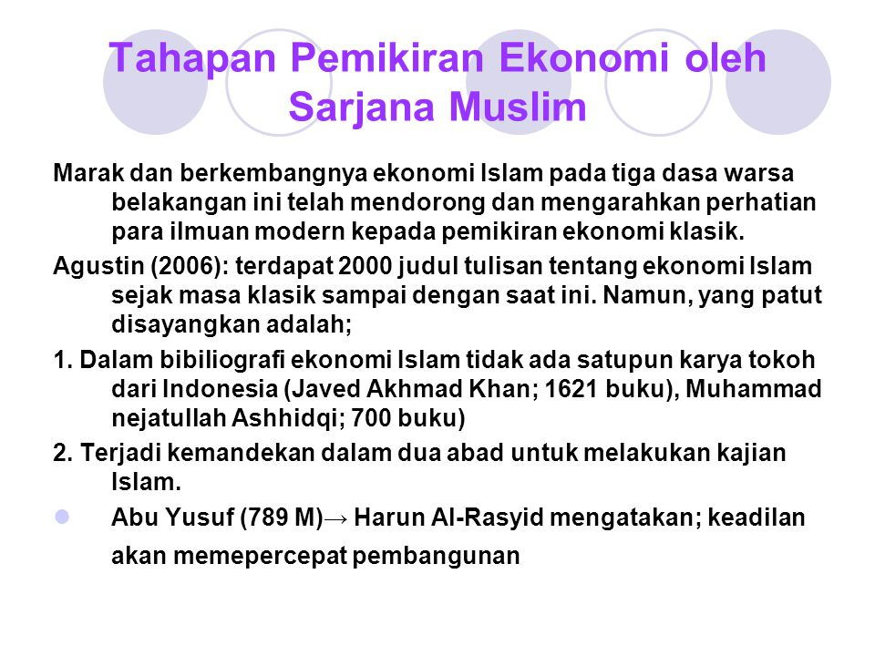 Tahapan Pemikiran Ekonomi oleh Sarjana Muslim