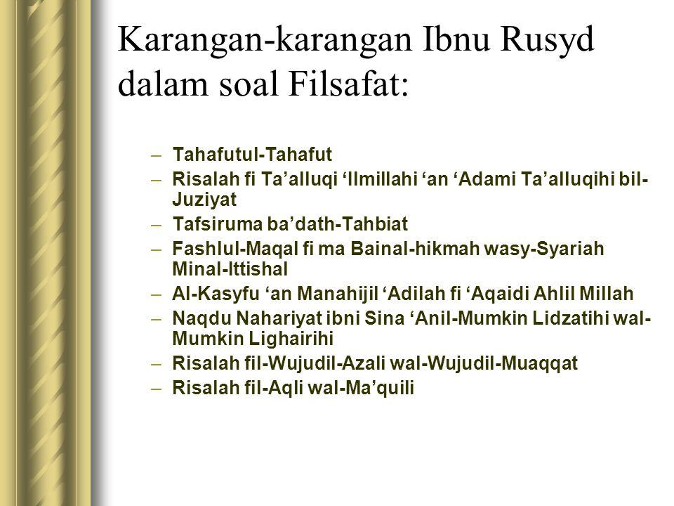 Karangan-karangan Ibnu Rusyd dalam soal Filsafat:
