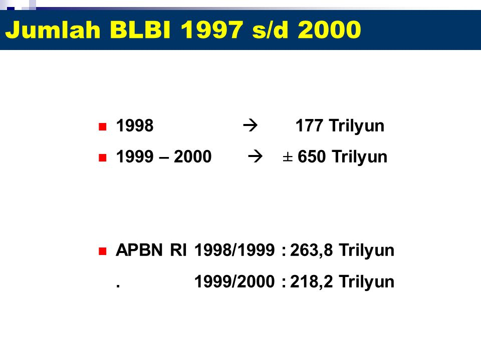 Jumlah BLBI 1997 s/d 2000 1998  177 Trilyun