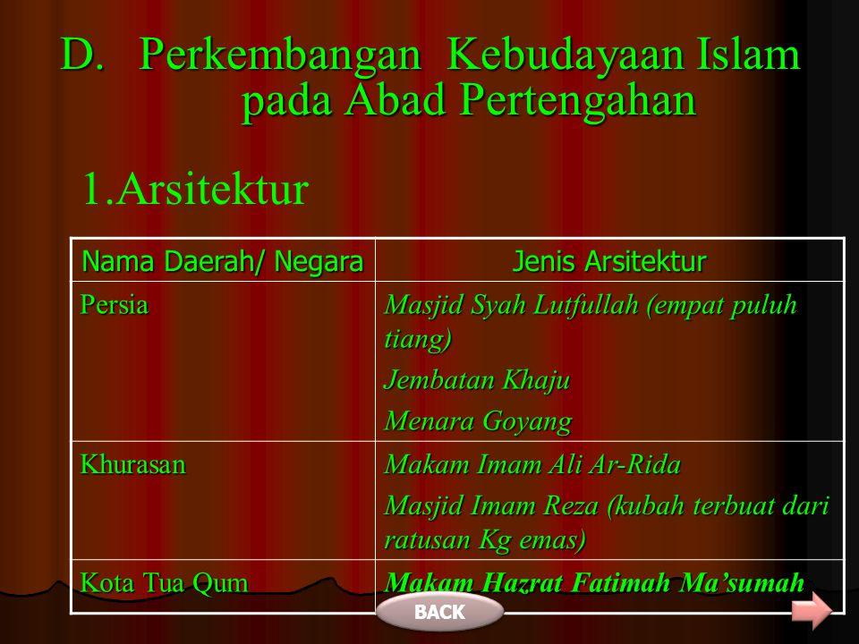 Perkembangan Kebudayaan Islam pada Abad Pertengahan