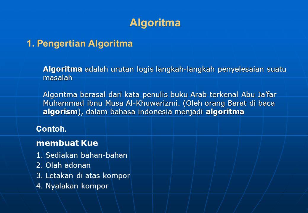 Algoritma 1. Pengertian Algoritma Contoh. membuat Kue