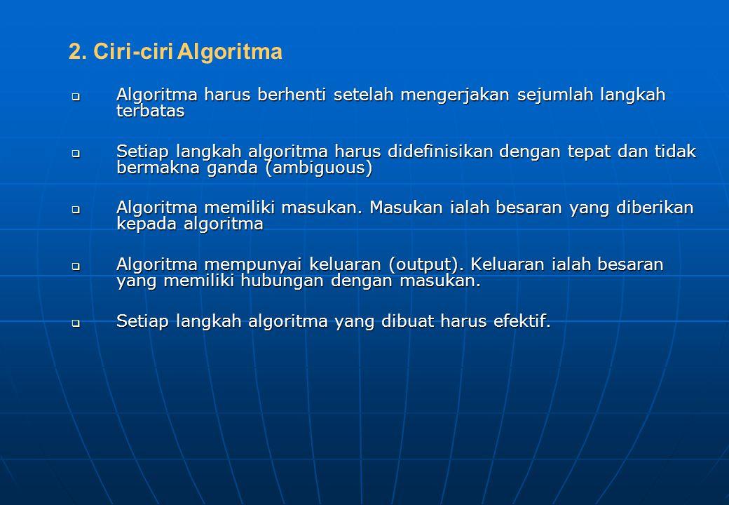 2. Ciri-ciri Algoritma Algoritma harus berhenti setelah mengerjakan sejumlah langkah terbatas.