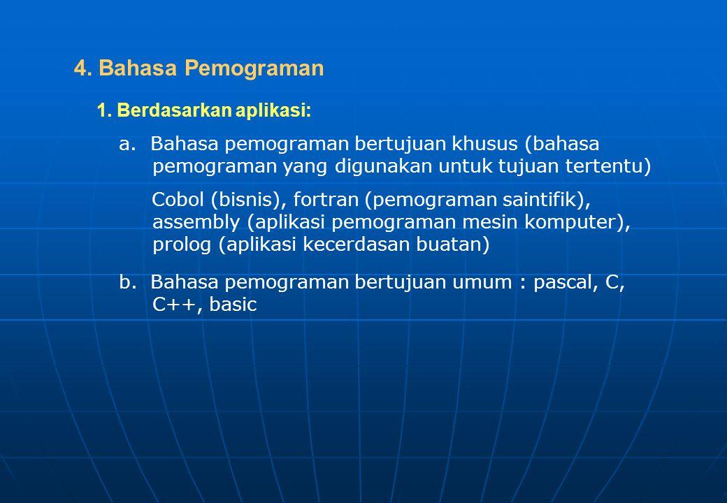 4. Bahasa Pemograman 1. Berdasarkan aplikasi: