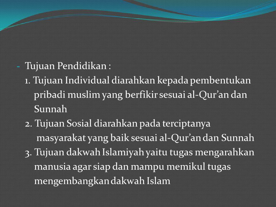 Tujuan Pendidikan : 1. Tujuan Individual diarahkan kepada pembentukan. pribadi muslim yang berfikir sesuai al-Qur'an dan.