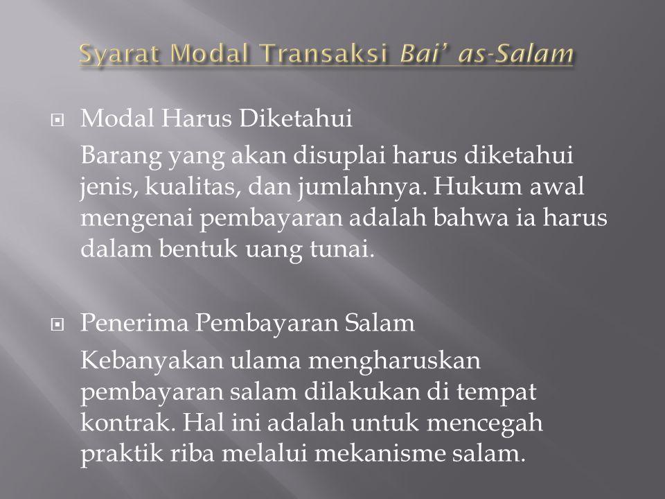 Syarat Modal Transaksi Bai' as-Salam