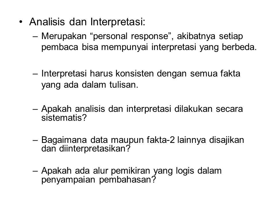 Analisis dan Interpretasi: