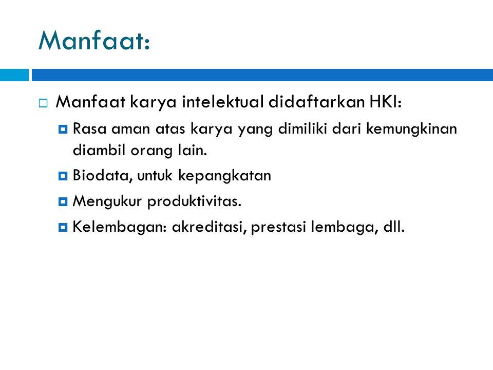 Manfaat: Manfaat karya intelektual didaftarkan HKI:
