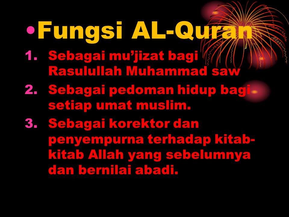 Fungsi AL-Quran Sebagai mu'jizat bagi Rasulullah Muhammad saw