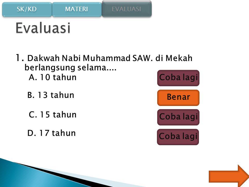 Evaluasi 1. Dakwah Nabi Muhammad SAW. di Mekah berlangsung selama....