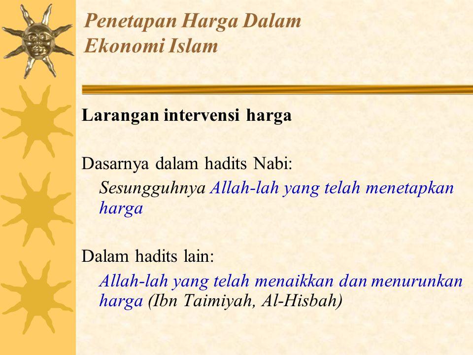 Penetapan Harga Dalam Ekonomi Islam