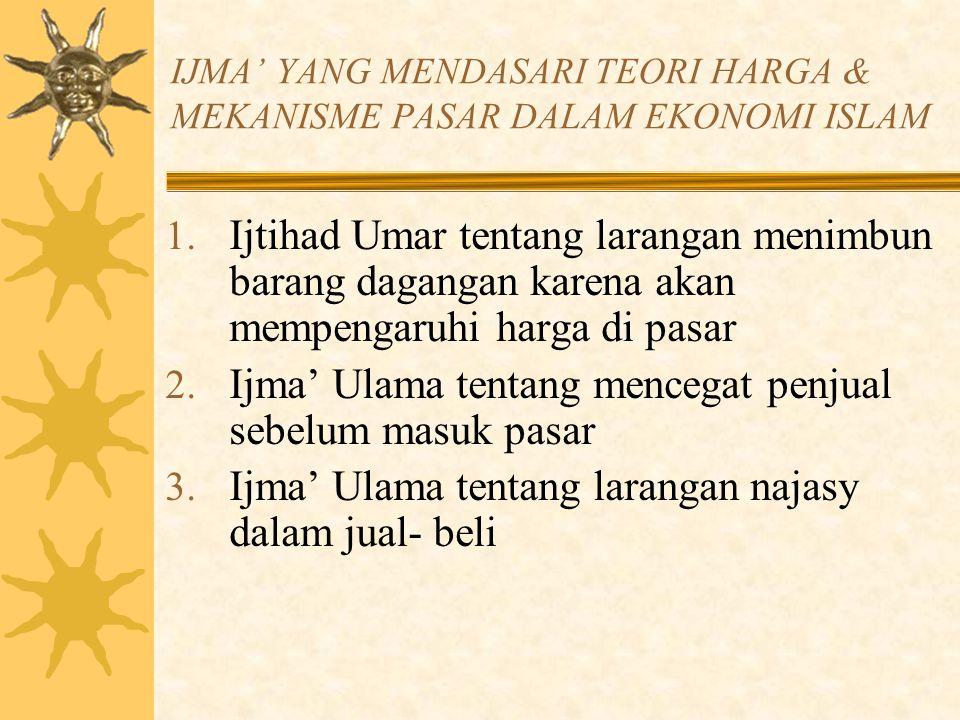 IJMA' YANG MENDASARI TEORI HARGA & MEKANISME PASAR DALAM EKONOMI ISLAM