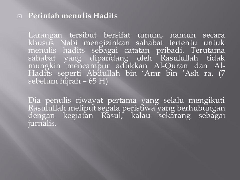 Perintah menulis Hadits