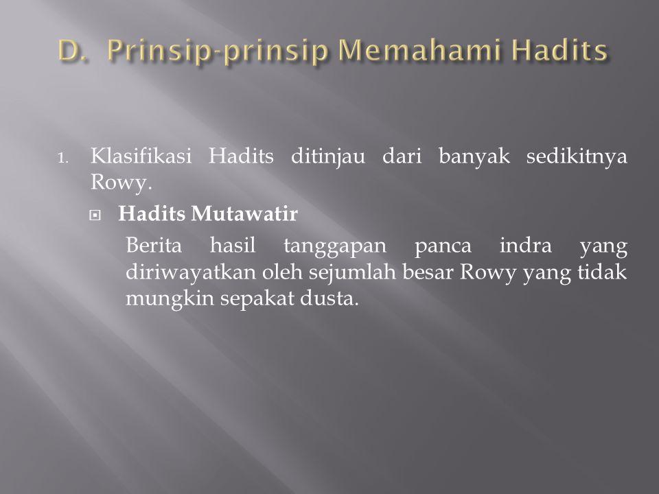 D. Prinsip-prinsip Memahami Hadits