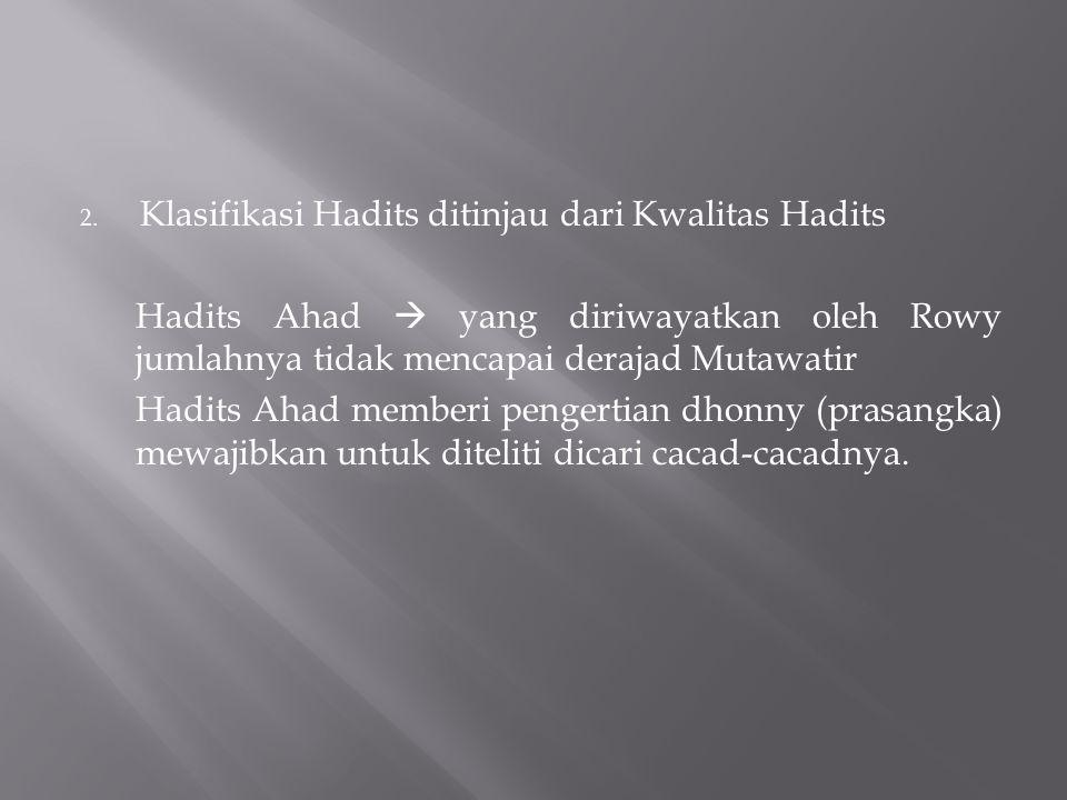 Klasifikasi Hadits ditinjau dari Kwalitas Hadits
