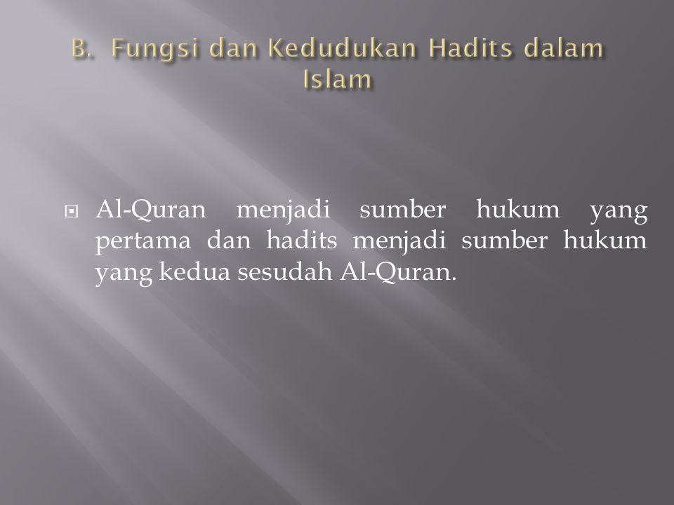 B. Fungsi dan Kedudukan Hadits dalam Islam