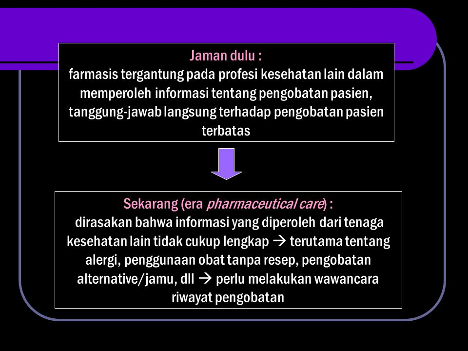 Sekarang (era pharmaceutical care) :