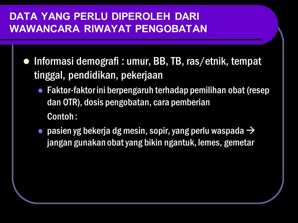 DATA YANG PERLU DIPEROLEH DARI WAWANCARA RIWAYAT PENGOBATAN