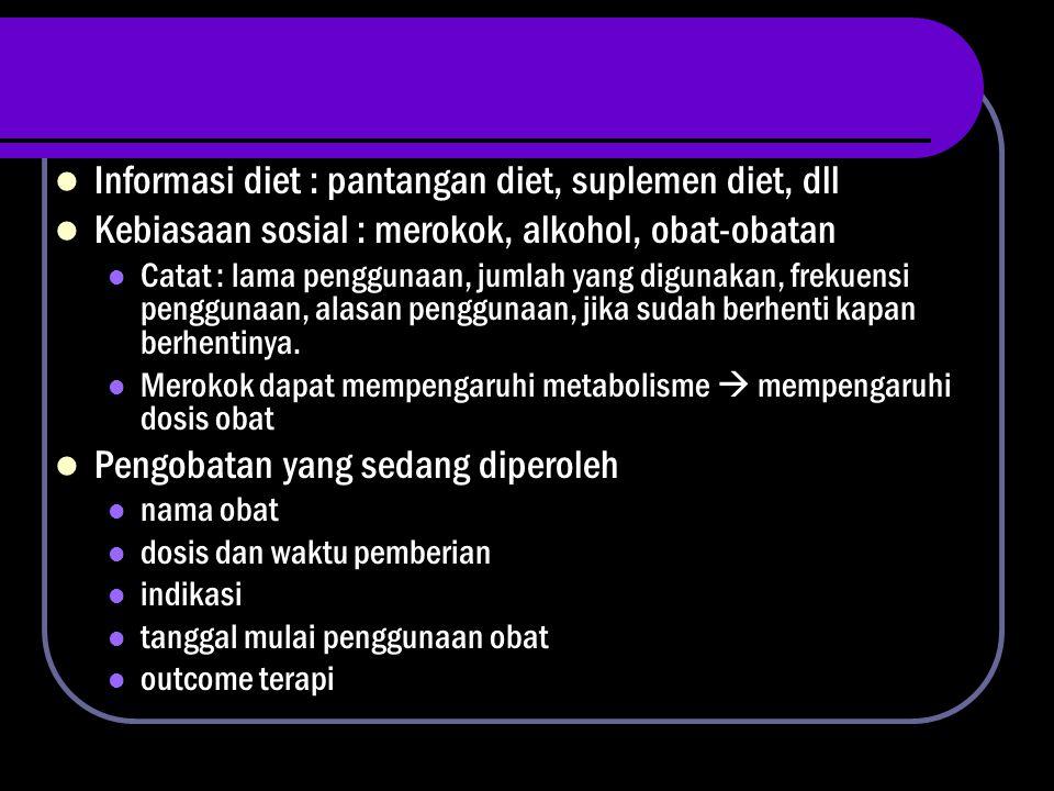 Informasi diet : pantangan diet, suplemen diet, dll