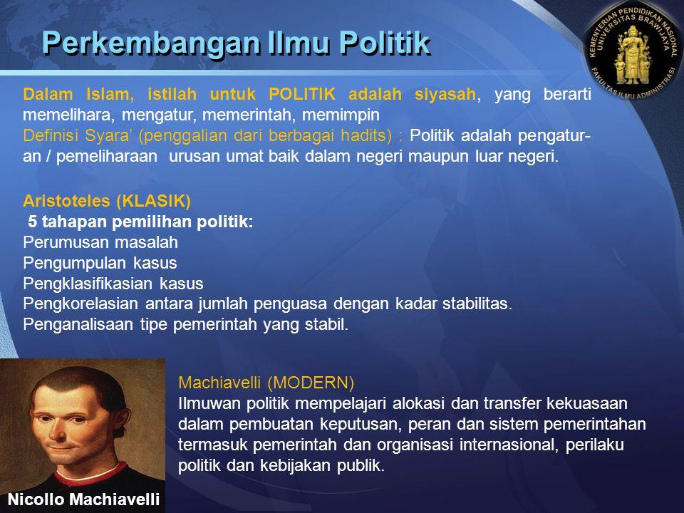 Perkembangan Ilmu Politik