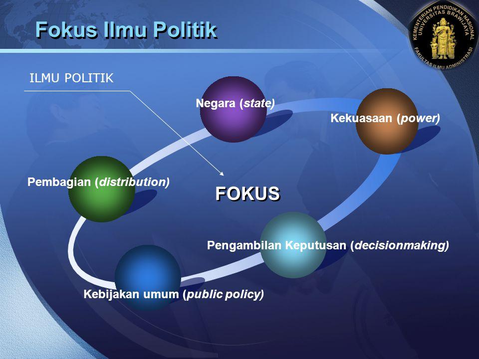 Fokus Ilmu Politik FOKUS ILMU POLITIK Negara (state) Kekuasaan (power)