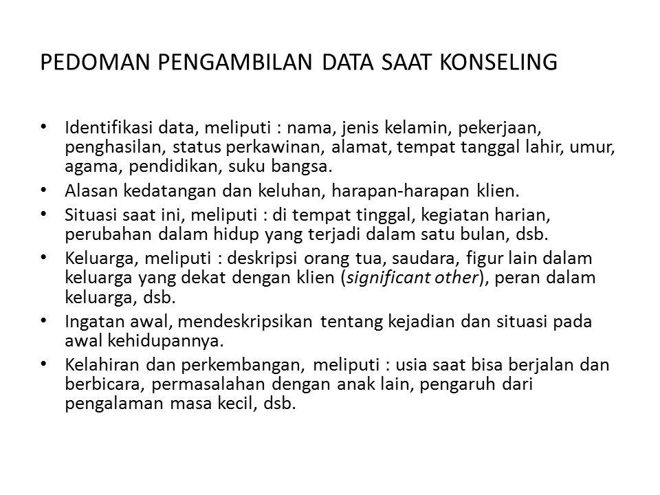 PEDOMAN PENGAMBILAN DATA SAAT KONSELING